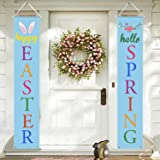 Mosoan Easter Porch Sign - Easter Decorations Outdoor Indoor - Happy Easter & Hello Spring Banner Sign - Easter Home Wall Doo