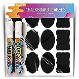156 Pack Chalkboard Labels with 2 Erasable Chalk Pen, TBOYUAN Waterproof Blackboard Storage Stickers, Reusable Jar Labels, Gr