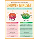Honey Paper Co Growth Mindset Poster - 12 x 16 Educational Poster for Classroom Decoration, Bulletin Boards - Inspire & Motiv