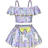 AmzBarley Girls Unicorn Swimsuits Toddler Bathing Suit Beachwear Pool Party Cover up Swim Skirts 2-8 Years