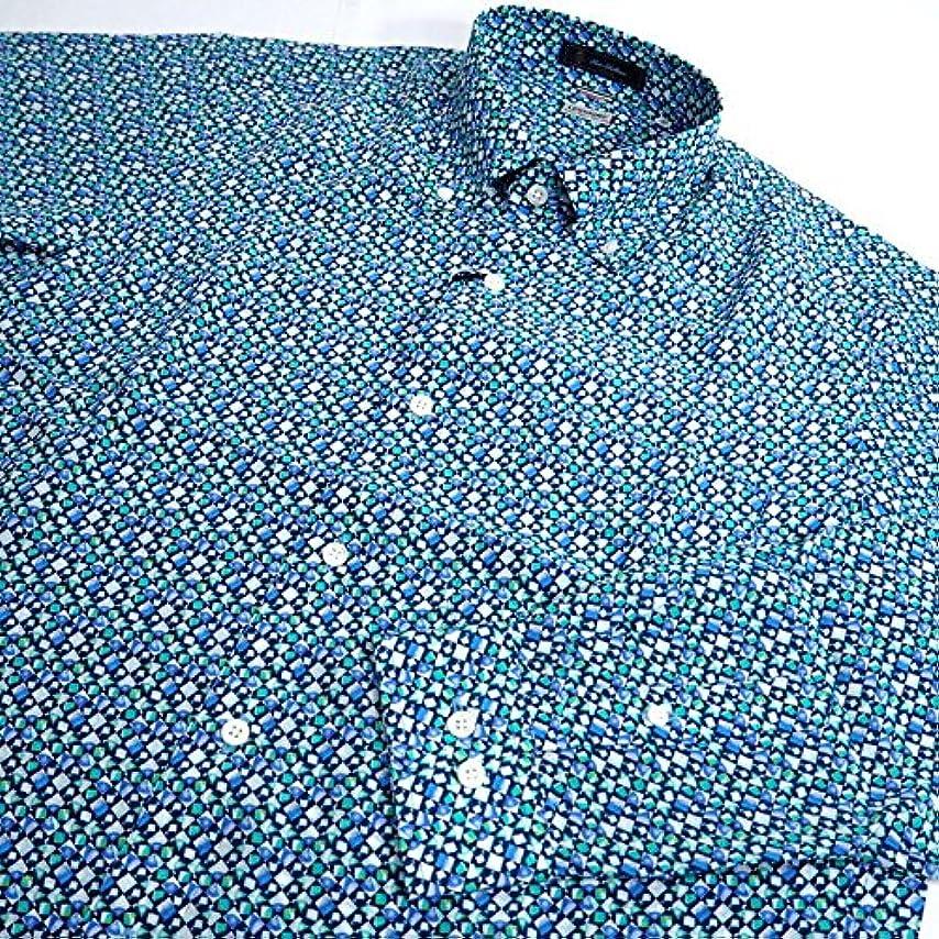 主要な発火する牧草地31489 春秋 日本製 シルク ボタンダウンシャツ 長袖 イタリア製生地使用 総柄 ブルー(青) サイズ 50(LL) G&G GEEGELLAN ジーゲラン 紳士服 メンズ 男性用