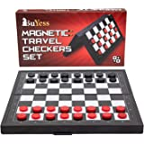 Checkers Board Game 9.8 x 9.8 inches Magnetic Travel Mini Portable Set for Kids, Adults and Family
