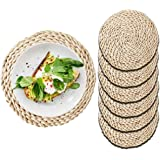 """Round Woven Placemats Set of 6 for Dining Table - Rattan Chargers for Dinner Plates 11'8"""" - Large Wicker Seagrass Weave Desig"""