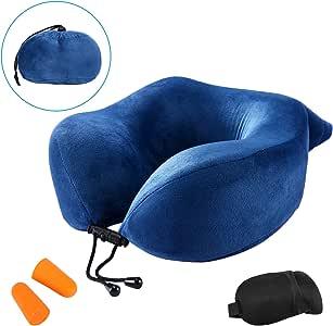 Sanauto ネックピロー U型まくら 昼寝枕 低反発 オフィス用 飛行機 新幹線 3Dアイマスクと収納袋付
