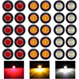 """30 Pcs TMH 3/4"""" Inch Surface Mount 10 pcs Amber + 10 pcs Red + 10 pcs White LED Clearance Markers Bullet Marker lights, side"""