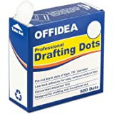 Offidea Professional Drafting Dots 500 pcs - Low Tack Pre-Cut Blank Tape - Easy to Use, for Drawing, Blueprint, Artist, Archi