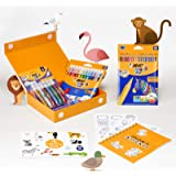BIC 975009 My Colouring Box - Colouring Kit with 12 Markers/ 18 Colouring Pencils/ 6 Glitter Glues/ 1 Colouring Book and 36 S