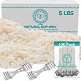 """Hearts and Crafts Soy Candle Wax and Wicks for Candle Making, All-Natural - 5lb Bag with 100ct 6"""" Pre-Waxed Candle Wicks, 2 C"""