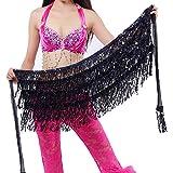 Wuchieal Sequins Tassels Fringes Skirt Belly Dance Costume Hip Scarf Festival Fancy Wrap Skirt