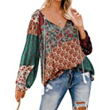 Ecrocoo Womens Loose Blouse Long Sleeve V Neck Button Down T Shirts Tie Front Knot Casual Tops