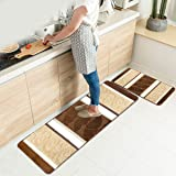 HEBE Kitchen Rugs Set 2 Piece Machine Washable Non-Slip Kitchen Mats and Rugs Runner Set Rubber Backing Indoor Outdoor Entry