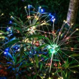 Anordsem Solar LED Firework Lights DIY Dimmable Multicolor Bouquet Shape &IP65 Waterproof+Safe+Energy Efficient Landscape dec