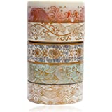 Gold Washi Tape Set - 5 Rolls Gold Foil Washi Masking Tape, Colorful Sea Wave Peak Flower Decorative Paper Tapes for Scrapboo