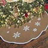 (80cm) - OurWarm Jute Burlap Christmas Tree Skirt 80cm Diameter Xmas Tree Decor Skirts New Year Holiday Decoration/White Snow