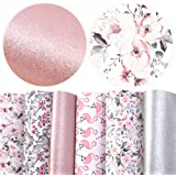 "David accessories Flamingo Floral Printed Faux Leather Fabric Sheets Vivid Pearl Light Solid Color 6 Pcs 7.8"" x 13.3"" (20 cm"