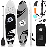 SereneLife Premium Inflatable Stand Up Paddle Board (6 Inches Thick) with SUP Accessories & Carry Bag   Wide Stance, Bottom F