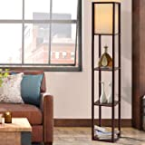 Artiss Floor Lamp Vintage Reading Light Stand Wood Shelf Storage Organizer Home Brown