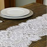 Embroidered and Durable White Lace Table Runner-Feminen 12''x120'' with Floral Fringe-Perfect for Outdoor and Chic Wedding an