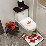 Sunm Boutique 3-Piece Christmas Snowman Toilet Seat Cover Toilet Tank Cover and Rug Snowman Bathroom Sets for Christmas Decor