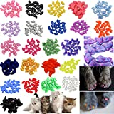 JOYJULY 140pcs Pet Cat Kitty Soft Claws Caps Control Soft Paws of 4 Glitter Colors 10 Colorful Cat Nails Caps Covers + 7 Adhe