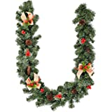 greenstream 6 Feet Christmas Decorations Christmas Garland Artificial Wreath with Berries and Pinecones Xmas Decorations for