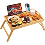 Pipishell Bamboo Bed Tray Table, Large Breakfast Tray - 21x13.9 Inch with Folding Legs, Multipurpose Serving Tray Use As Port