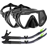 WACOOL Snorkeling Package Set for Adults, Anti-Fog Coated Glass Diving Mask, Snorkel with Silicon Mouth Piece,Purge Valve and