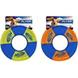 Nerf Dog Toss and Tug Ring Dog Toy, Frisbee, Lightweight, Durable and Water Resistant, 9 Inch Diameter, For Medium/Large Bree