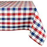 DII 100% Cotton, Machine Washable, Dinner, Summer & Picnic Tablecloth, 60 x 84, Red, White and Blue Check, Seats 6 to 8 Peopl