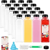 SUPERLELE 16 Oz 20 Packs Empty PET Plastic Juice Bottles BPA Free Reusable Clear Disposable Containers with Black Tamper Evid