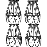 Licperron Lamp Guard Adjustable Lamp Cage Black Industrial Vintage Style Light Cage for Pendant Lights Antique Lamp Holders P