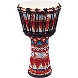"lotmusic Djembe African Drum Bongo Congo Stardard Size Mahogany Goatskin Drumhead (8"", Red)"