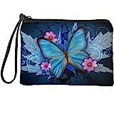 Babrukda Women Change Purse Coin Purse Vintage Blue Butterfly Maple Leaf Flower Wallet Bag with Wristlet Strap Zipper Change