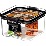 Sistema J7S95 Ultra Square Food Container, 460ml, Black, Brown/Tan