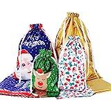 Amosfun Christmas Drawstring Gift Bags 30pcs Assorted Christmas Gift Wrapping Bags Upgraded Christmas Goodie Bags for Birthda