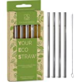 Stainless Steel Reusable Drinking Straws 6 Inch - Shorter & Safer Reusable Straws for Kids, Coffee, Bar, Cocktail Glass Straw