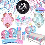 Gender Reveal Party Supplies & Tableware Set (223 Pieces)   For 24 Guests   Complete Gender Reveal Decorations Kit with Plate