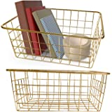 Vlish 2 Gold Wire Baskets - Gold 2 Pack Wire Basket Set | Storage | Decor | Crafts | Kitchen Organizing | Great for Closets |