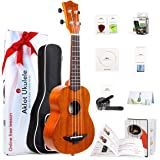 Solid Mahogany Ukulele Uke Ukelele For Beginners With Free Online Lessons 8 Packs Starter Kit (Gig Bag Picks Tuner Strap Stri