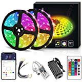 YORUKAU Led Strip Lights - RGB 300 LEDs - Controlled by WiFi Smart Phone - Bluetooth or Key Remote - Waterproof - Led Lights