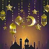 Cheerland Shining Gold Star Moon Lantern Ramadan Garland Kit EID Decoration for Home Ramadan Mubarak Party Decor Hanging Stre