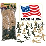 TimMee Plastic Army Men - Green vs Tan 100pc Toy Soldier Figures - Made in USA