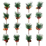 Artificial Pine Picks Artificial Plants Small Pine Picks for Flower Arrangements Wreaths and Holiday Decorations(16 pcs)