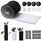 Cable Management Sleeves with Free Cable Clips and Ties(118 inch), ENVEL Neoprene Cord Organizer Hider with Nylon for TV USB