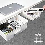 Under Desk Drawer[2Pack, XL+M], GGIANTGO Desk Organizers, Set for Office/Bedroom/School/Kitchen, Self-Adhesive Under Desk Sto
