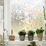 (Rainbow) - Maggift 3D Window Films Privacy Film Static Decorative Film, Non-Adhesive, Heat Control & Anti UV, 45cm by 200cm