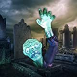 GOOSH 6 Feet High Halloween Inflatable Terror Green Zombies Raise Hands with Build-in White Bright Lights Blow Up Inflatables