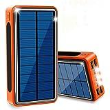 ソーラー充電器 モバイルバッテリー 超大容量 40000mAh QuickCharge ソーラーチャージャー 急速充電 充電バッテリー 携帯充電器 ソーラーパネル IPX6防水 LEDライト 4台同時充電 スマホ 太陽エネルギーパネル 4出力と3入力