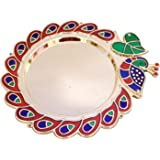 YADNESH Designer Peacock and Leaf Design Pooja Thal Rakhi Platter Engagement Ring Platter Tilak Thali with 2 Attached Kumkum
