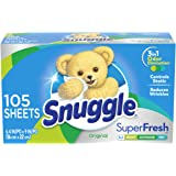 Snuggle Plus Super Fresh Fabric Softener Dryer Sheets with Static Control and Odor Eliminating Technology, 105 Count (Packagi